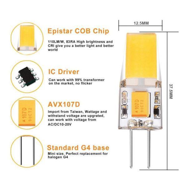 g4 2w cob led bulb details